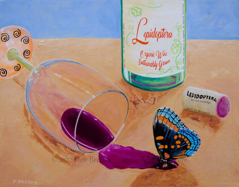Happy Hour! Butterfly puddling on red wine. Lepidoptera Wine, with grapes from Nectar Vineyards, it's the bee's knees.