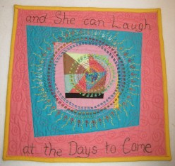 "LAUGHING WOMAN. Of course this is a phrase from the well-know Proverbs 31 woman. It is a combination of the housetop style along with extensive hand embroidery. Finished with machine quilting. 14""x13"". SOLD"