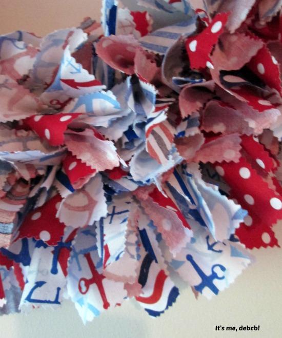 Patriotic Fabric Wreath Closeup