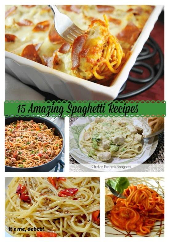 Recipe round-up with spaghetti