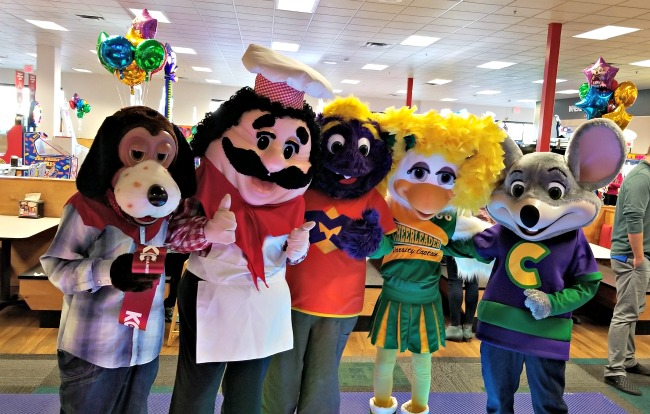 Characters at Chuck E. Cheese's