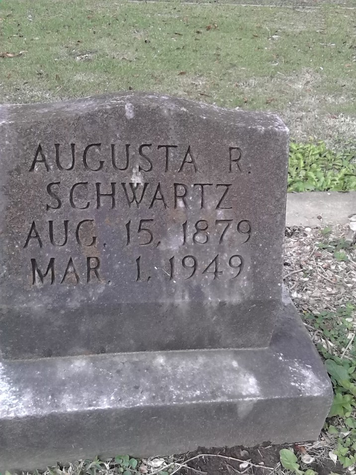 """Source of the name """"August"""" in the Nicholls' family. The last name Schwartz indicates that this is the negro branch of the Jewish Family and that this is one of the Mouton family, since it's in Lafayette, La."""