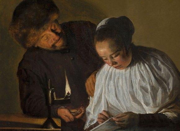 Judith-Leyster---Man-die-een-vrouw-geld-aanbiedt-Mauritshuis_detail