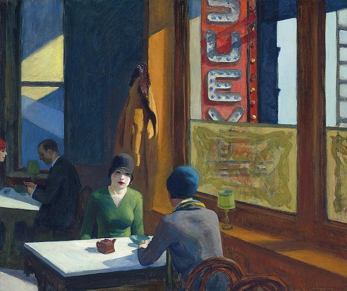 schilderij door Edward Hopper, twee dames aan tafel in restaurant