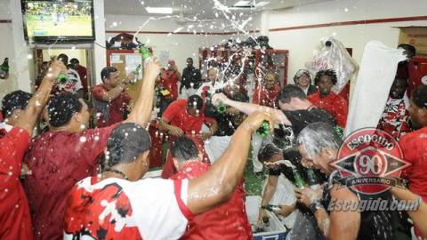Celebración de Leones del Escogido al llegar a la final