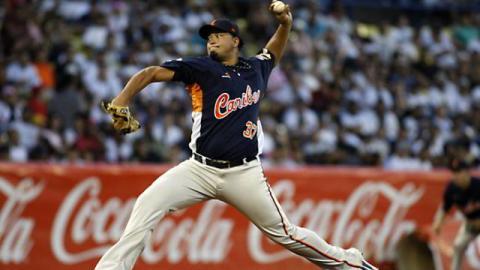 Renyel Pinto de Caribes de Anzoátegui en la Liga Venezolana de Beisbol Profesional