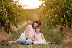 family photos in the vineyards