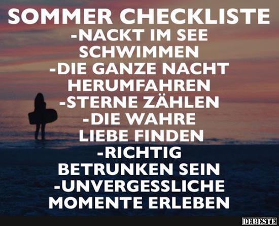 Sommer Checkliste Lustige Bilder Spruche Witze Echt Lustig
