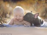 Entrañable sesión fotográfica entre un bebé y su bulldog francés