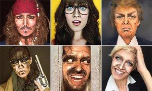 Una talentosa maquilladora transforma su cara en diferentes rostros de famosos