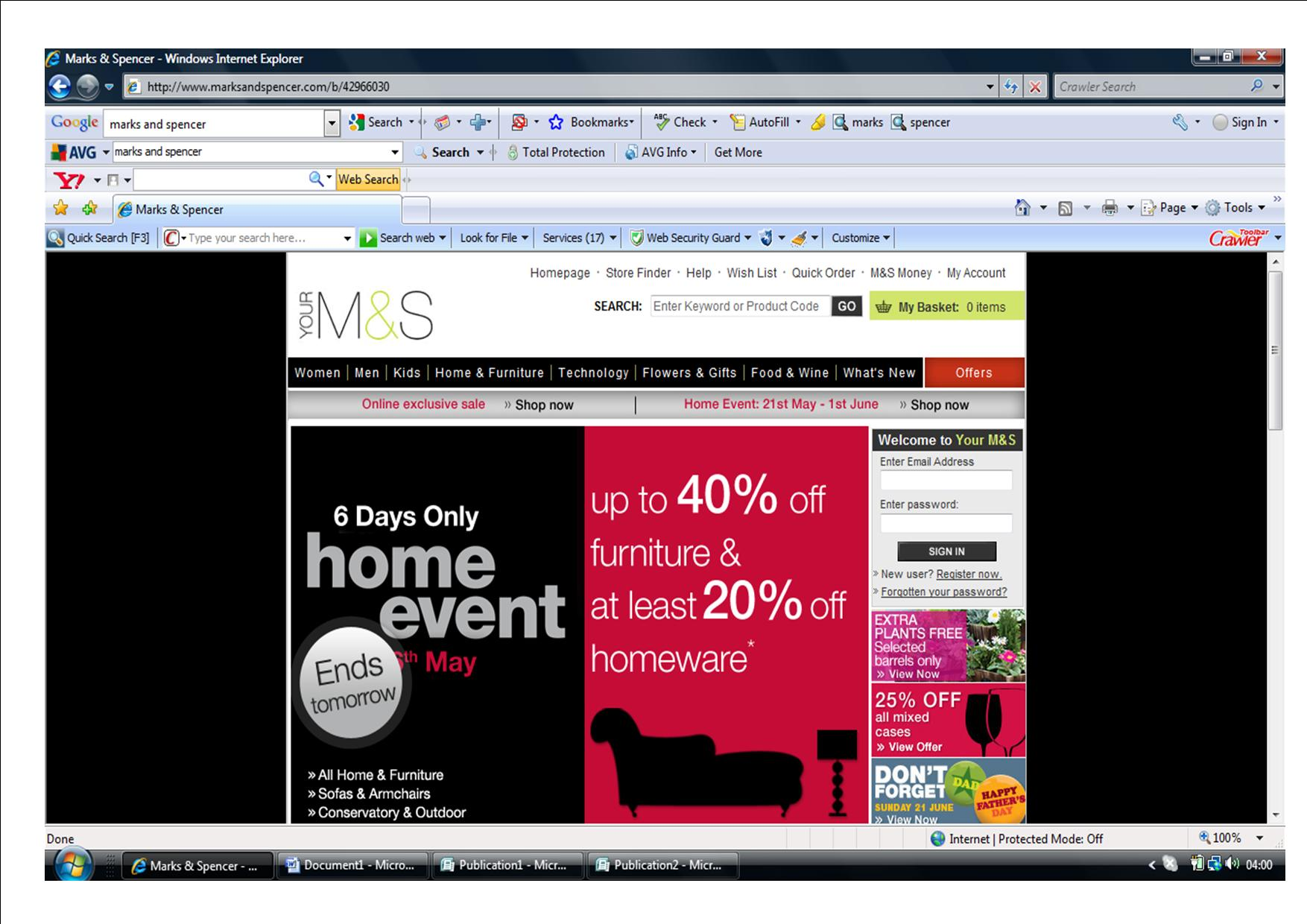 Marks and Spencers Home Page