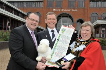 Blind Dave made Honorary Freeman of the Borough of Sandwell with Mayor Joyce Underhill and Leader of the Council Darren Cooper