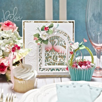 Blog Hop Showcasing Becca Feeken's Elegant 3-D Vignettes Collection with Two Cards, A Treat Box and a Party Favor
