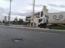 Em frente ao Sindiônibus. Foto do leitor Eraldo Sá