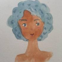 E de cabelo azul