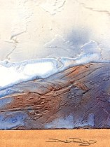 craggy tactile texture in watercolour using molding paste, debiriley.com