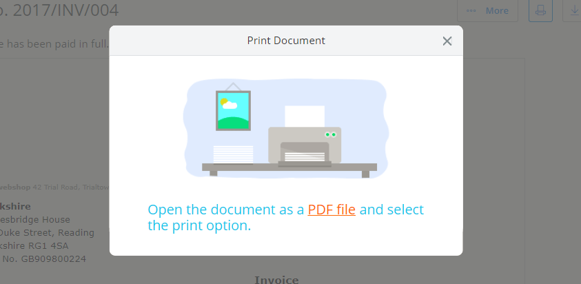 Printable invoices in your invoicing software You can print your invoice from Debitoor invoicing software directly from  your browser