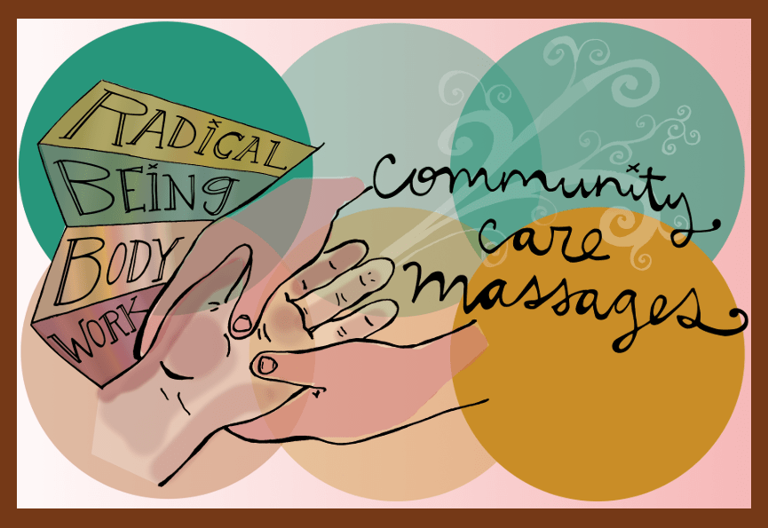 Starting 11/20/2018 ALL gift certificates purchased will generate a 1 hour community care session to be given to a low/no income community member who holds one or more of these identities: queer/trans/fat/disabled/BIPOC or it will go towards free chair massage sessions for stressed out non-profit workers/change makers/social workers/helping professionals.  Artwork by Nomy Lamm