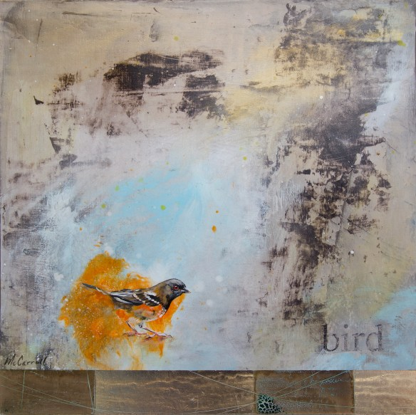 "bird 14 x 14 x 1.5 - Acrylic and gold leaf on 1.5"" wood panel"