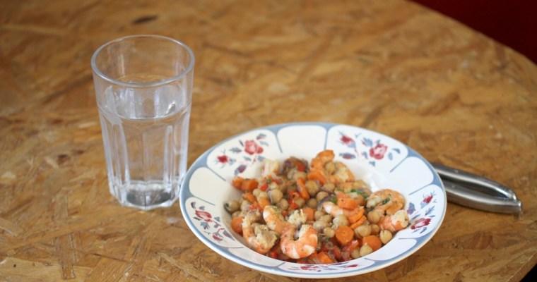 Crevettes piquantes aux pois chiches… froid ou chaud