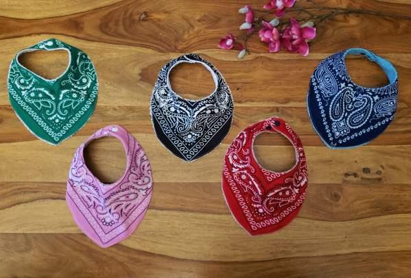bavoir bandana pour bébé en coton, noir rouge bleu vert et rose