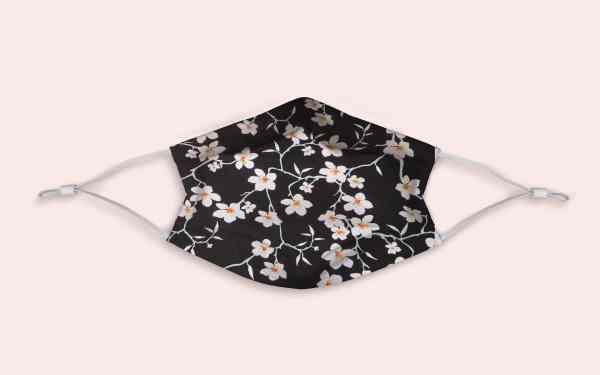 Masque catégorie 1 noir fleurs cerisier blanches