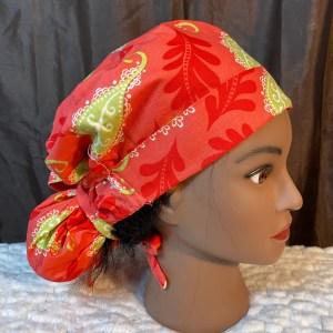 coral reef ponytail scrub cap