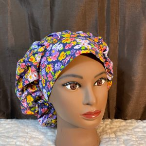 scrub hat with colorful flowers
