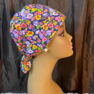 Colorful flowers scrub hat