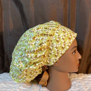 light green scrub hat with dandelions