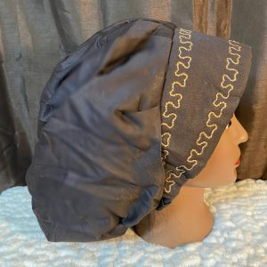 brown bouffant scrub hat with beige embroidery