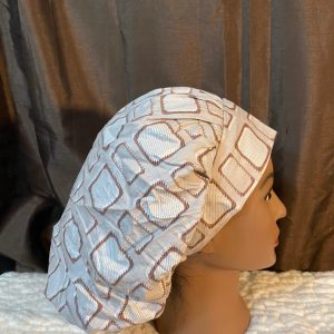 Brown and beige bouffant scrub hat