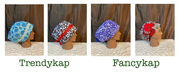 4 Surgical cap styles by Debola Designs. One blue with beige trim, one grey with red trim, one blue with white swirls, one red and black with red flower