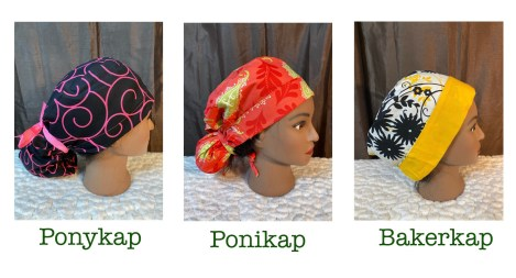 3 surgical cap styles by Debola Designs. One black with pink swirls, one coral and green, one white and yellow with black flowers