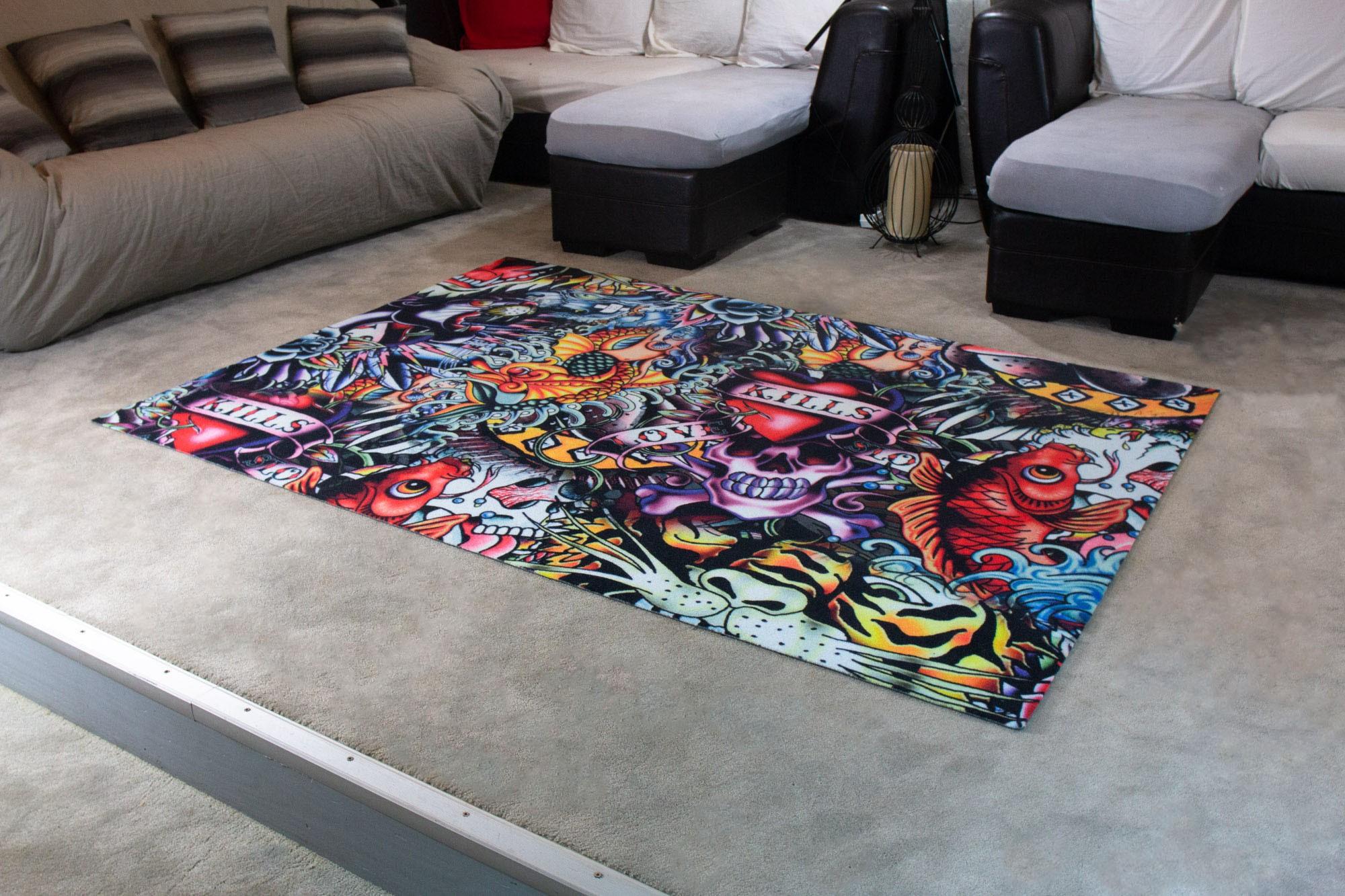 tapis salon moderne tatouage imprime multicolore debonsol