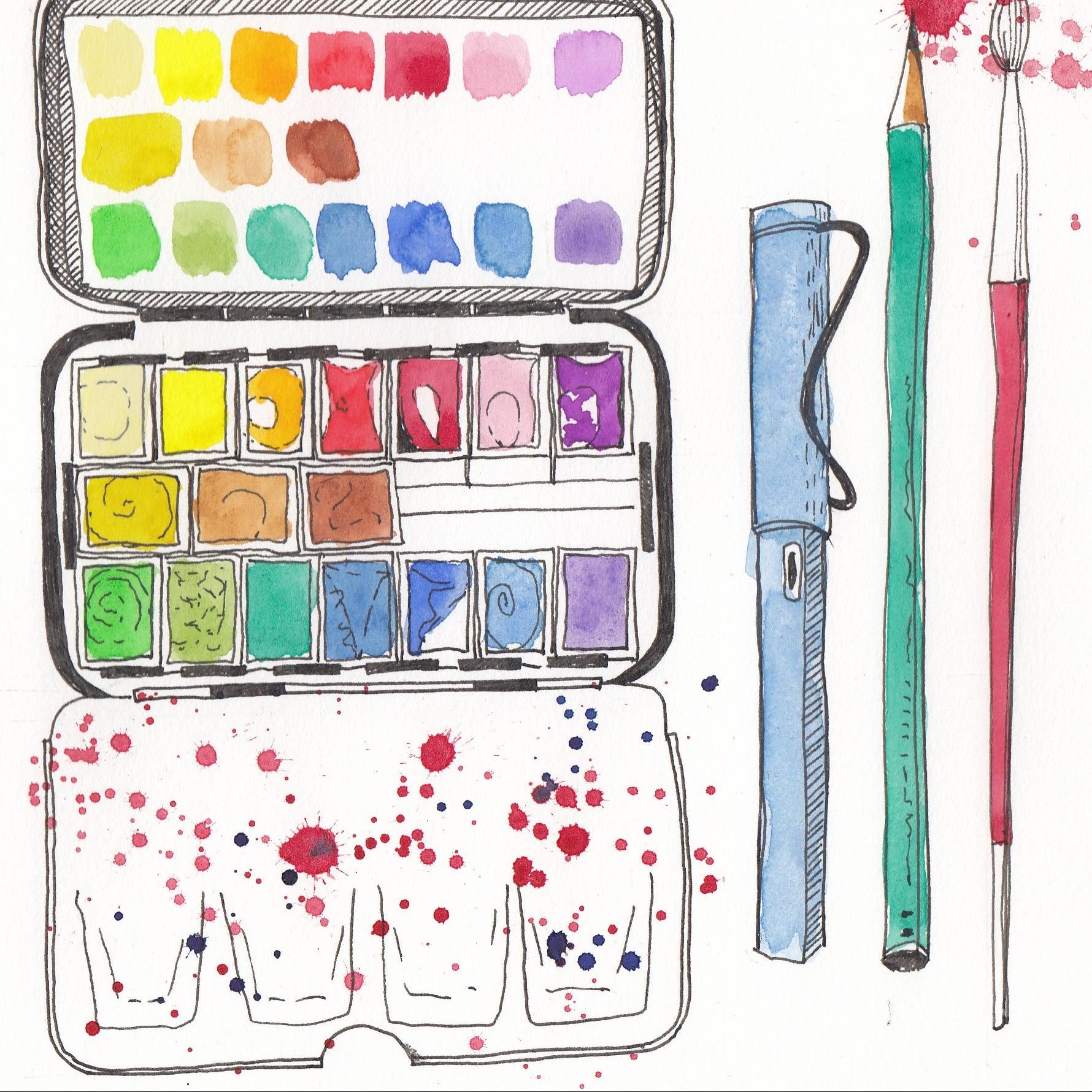 paint palette pen brush pencil