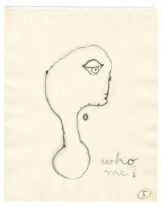 """drawing of a person's head with big eye looking forward and caption """"who me?"""""""