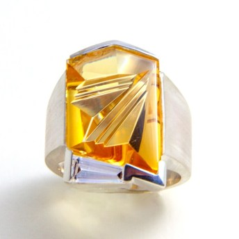 Ring Silver with citrine cut by munsteiner