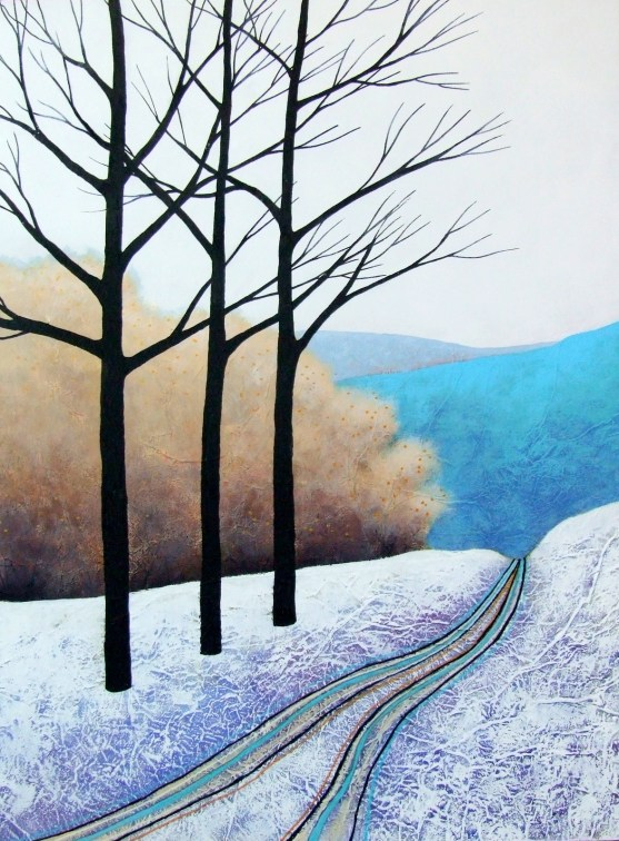 "The Blue Hills ©Deborah Burrow 16x12"" acrylic on deep edge artist's wood panel £295"