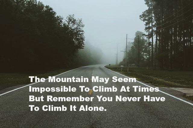 The Mountain May Seem Impossible To Climb At Times But Remember You Never Have To Climb It Alone.