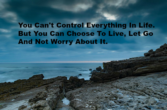 You Can't Control Everything In Life. But You Can Choose To Live, Let Go And Not Worry About It.