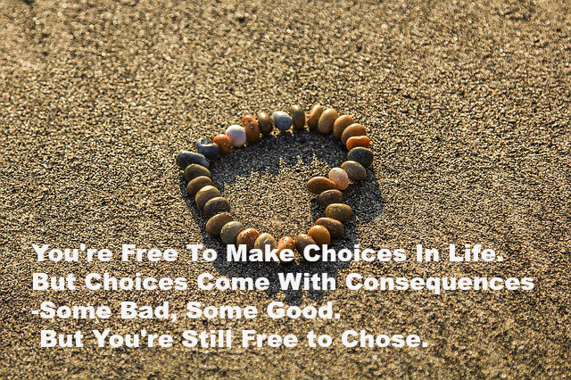 You're Free To Make Choices In Life. But Choices Come With Consequences -Some Bad, Some Good. But You're Still Free to Chose.