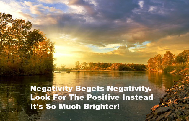 Negativity Begets Negativity. Look For The Positive Instead It's So Much Brighter!