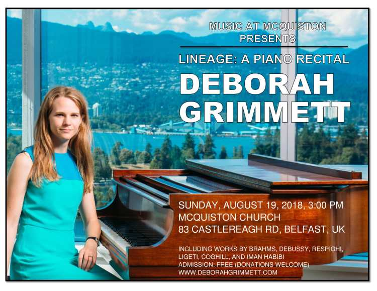 Music at McQuiston presents Deborah Grimmett solo piano recital August 19 2018
