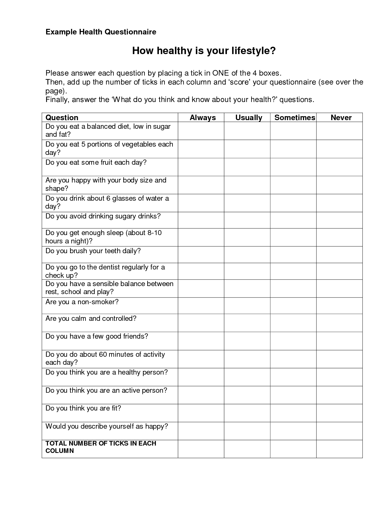Example Of A Health Screening Questionnaire For Fitness