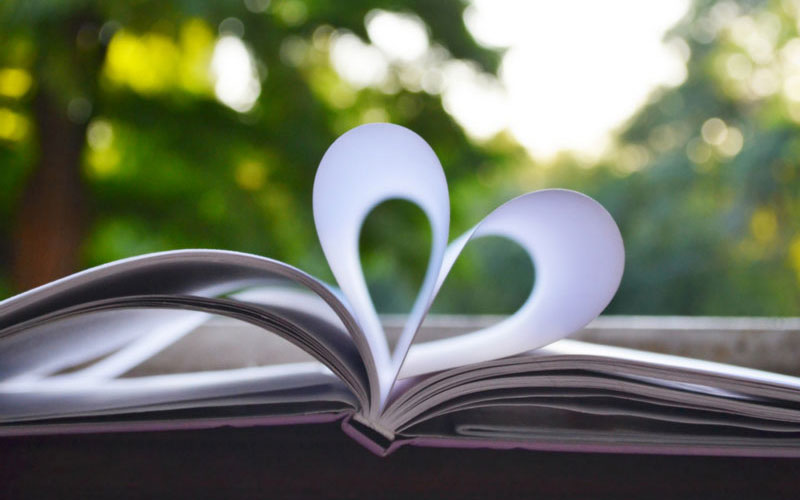 Book pages folded into a interesting heart design