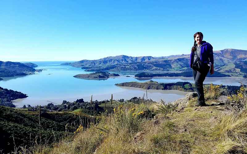 Deborah Munro hiking in New Zealand