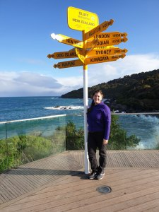 New Zealand signpost with Deborah Munro, Author