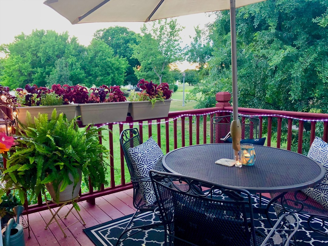 """I loved writing on the """"treehouse"""" deck overlooking our neighborhood park at the Wichita house."""