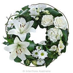 COMFORTING EMBRACE Mixed floral wreath suitable for service AUS 844